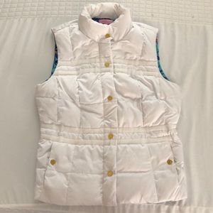 White down vest with side zips